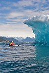 Alaska, Prince William Sound, Sea kayaker, Columbia Bay, Columbia Glacier, Iceberg, USA, David Fox, released,.
