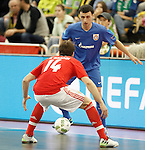 Ugra Yugorsk's Ivan Signev (f) and SL Benfica's Alan Brandi during UEFA Futsal Cup 2015/2016 Semifinal match. April 22,2016. (ALTERPHOTOS/Acero)