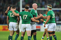 (L-R) Robbie Henshaw, Cian Healy, Paul O'Connell and Chris Henry of Ireland congratulate each other on the win during Match 28 of the Rugby World Cup 2015 between Ireland and Italy - 04/10/2015 - Queen Elizabeth Olympic Park, London<br /> Mandatory Credit: Rob Munro/Stewart Communications