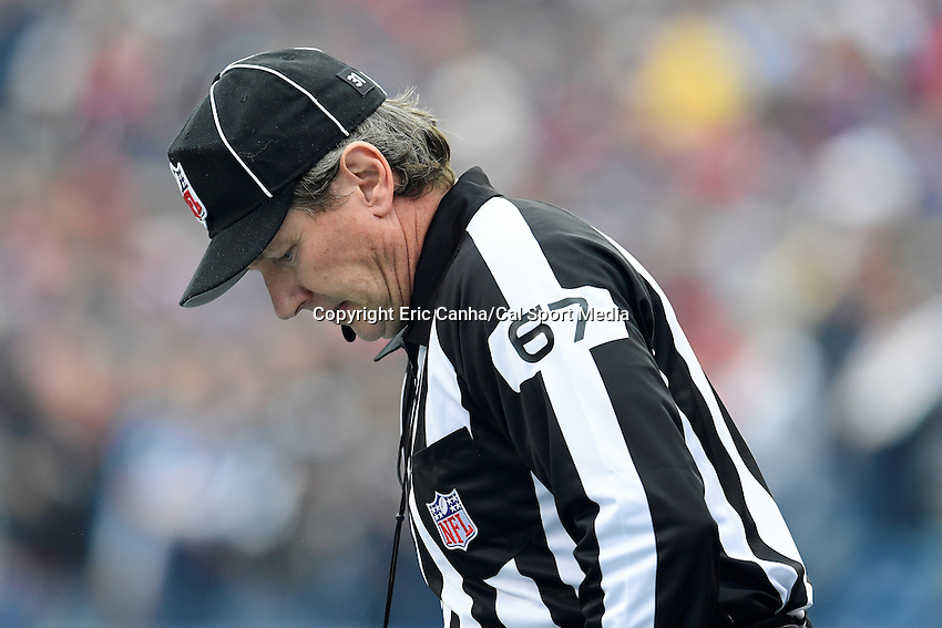 Sunday, October 2, 2016: NFL field judge Doug Rosenbaum (67) before the start of the NFL game between the Buffalo Bills and the New England Patriots held at Gillette Stadium in Foxborough Massachusetts. Buffalo defeats New England 16-0. Eric Canha/Cal Sport Media