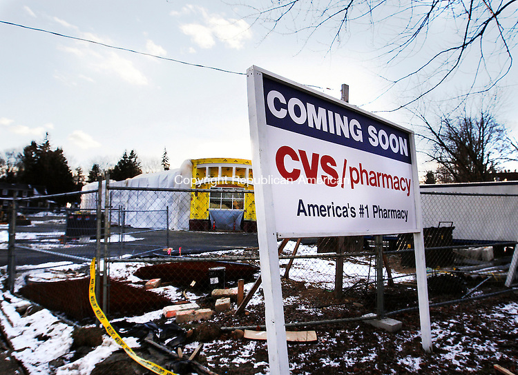 Watertown, CT- 23 January 2013-012313CM01-  CVS Pharmacy has applied for three variances to Watertown sign regulations for 371 feet of extra signage for the new pharmacy on the corner of Main Street and Davis Street in Oakville.        Christopher Massa Republican-American