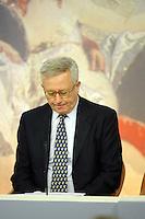 Roma 13 Agosto 2011.Palazzo Chigi.la conferenza stampa per illustrare il secondo decreto correttivo alla manovra finanziaria, da oltre 45,5 miliardi di euro. .il ministro del Tesoro, Giulio Tremonti