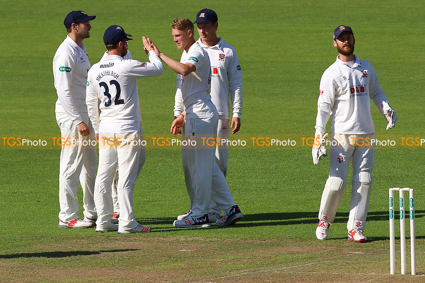 Jamie Porter (C) of Essex is congratulated by his team mates after taking the wicket of Craig Meschede during Glamorgan CCC vs Essex CCC, Specsavers County Championship Division 2 Cricket at the SSE SWALEC Stadium on 22nd May 2016