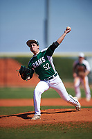 Farmingdale State Rams relief pitcher Joe Marino (52) delivers a pitch during the first game of a doubleheader against the FDU-Florham Devils on March 15, 2017 at Lake Myrtle Park in Auburndale, Florida.  Farmingdale defeated FDU-Florham 6-3.  (Mike Janes/Four Seam Images)