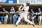 03 June 2016: Millersville's Dan Stoltzfus hits the ball. The Nova Southeastern University Sharks played the Millersville University Marauders in Game 13 of the 2016 NCAA Division II College World Series  at Coleman Field at the USA Baseball National Training Complex in Cary, North Carolina. Nova Southeastern won the first game of the best of three Championship Series 2-1.