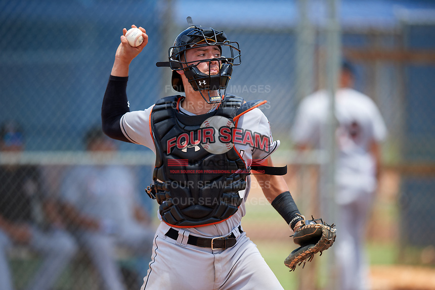 GCL Marlins catcher Will Banfield (10) throws during a game against the GCL Mets on August 3, 2018 at St. Lucie Sports Complex in Port St. Lucie, Florida.  GCL Mets defeated GCL Marlins 3-2.  (Mike Janes/Four Seam Images)