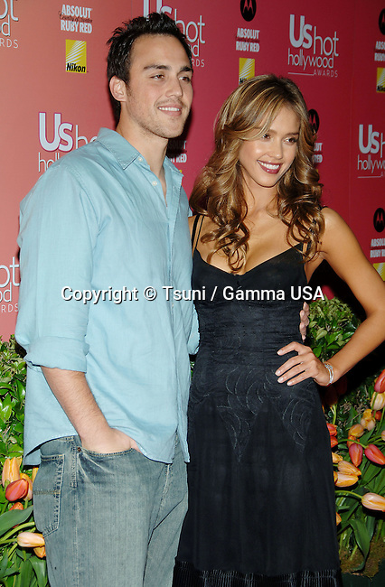 Jessica Alba and her brother arriving at the US Weekly Hot Hollywood Awards at the Republic restaurant in Los Angeles. April 24,  2006.