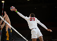 STANFORD, CA - January 17, 2019: Jaylen Jasper at Maples Pavilion. The Stanford Cardinal defeated UC Irvine 27-25, 17-25, 25-22, and 27-25.
