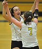 Rachel McMartin #8 of Wantagh, left, and Caroline Sullivan #7 celebrate as their team closes on victory over Lawrence in the Nassau County varsity girls volleyball Class A semifinals at Massapequa High School on Monday, Nov. 7, 2016. Wantagh won 3-1.