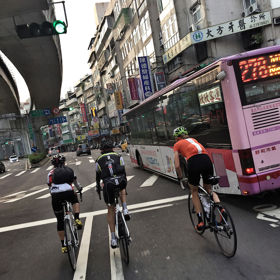 Cycling through the streets of Taipei, Taiwan.