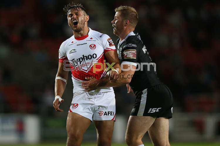 Picture by Paul Currie/SWpix.com - 02/09/2016 - Rugby League - First Utility Super League - St Helens v Hull FC - Langtree Park, St Helens, England - St Helens Jon Wilkin dejected after a knock on