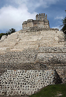 Five-Floor building (Rear Side), so called because of its five levels of vaulted rooms, Puuc architectural style, Late Classic Period, 600 - 900 AD, Edzna, Campeche, Mexico. Picture by Manuel Cohen