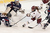 Margaret Zimmer (UConn - 19), Elaine Chuli (UConn - 29), Grace Bizal (BC - 2) - The Boston College Eagles defeated the visiting UConn Huskies 4-0 on Friday, October 30, 2015, at Kelley Rink in Conte Forum in Chestnut Hill, Massachusetts.