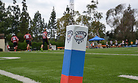 May 24, 2015; Los Angeles, CA, USA; General view of a pylon in the end zone during the AUDL match between the San Francisco Flamethrowers and Los Angeles Aviators at Occidental College. The Aviators defeated the Flamethrowers 23-22. Photo by Kirby Lee