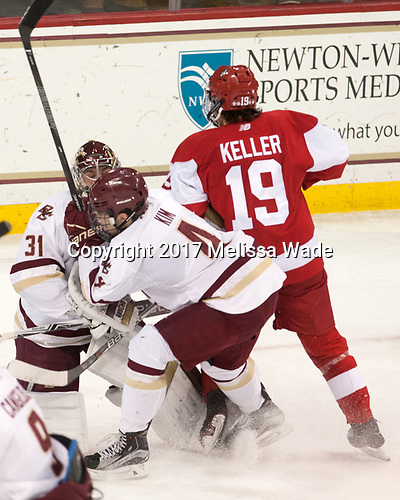 Joe Woll (BC - 31), Michael Kim (BC - 4), Clayton Keller (BU - 19) - The visiting Boston University Terriers defeated the Boston College Eagles 3-0 on Monday, January 16, 2017, at Kelley Rink in Conte Forum in Chestnut Hill, Massachusetts.