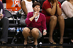 18 February 2016: Notre Dame head coach Muffet McGraw. The Wake Forest University Demon Deacons hosted the University of Notre Dame Fighting Irish at Lawrence Joel Veterans Memorial Coliseum in Winston-Salem, North Carolina in a 2015-16 NCAA Division I Women's Basketball game. Notre Dame won the game 86-52.