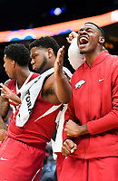 NWA Democrat-Gazette/CHARLIE KAIJO Arkansas Razorbacks players react during the Southeastern Conference Men's Basketball Tournament quarterfinals, Friday, March 9, 2018 at Scottrade Center in St. Louis, Mo.