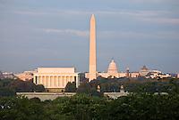 Washington DC Skyline National Mall Lincoln Memorial Washington Monument US Capitol Washington DC Art - - Framed Prints - Wall Murals - Metal Prints - Aluminum Prints - Canvas Prints - Fine Art Prints Washington DC Landmarks Monuments Architecture