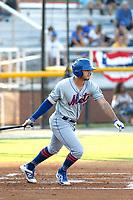 Kingsport Mets first baseman Kenny Hernandez (5) at bat during a game against the Burlington Royals at Burlington Athletic Complex on July 28, 2018 in Burlington, North Carolina. Burlington defeated Kingsport 4-3. (Robert Gurganus/Four Seam Images)