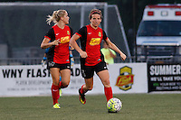 Rochester, NY - Saturday July 23, 2016: Western New York Flash defender Elizabeth Eddy (4), and defender Abigail Dahlkemper (13) during a regular season National Women's Soccer League (NWSL) match between the Western New York Flash and FC Kansas City at Rochester Rhinos Stadium.