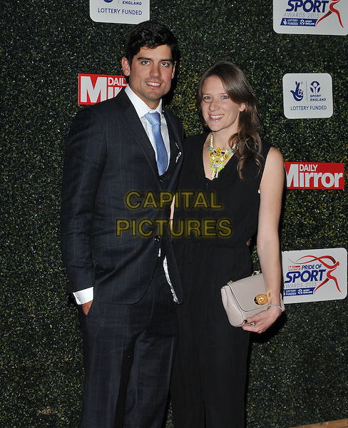 Alastair Cook &amp; Alice Hunt attend the Daily Mirror Pride of Sport Awards 2015, Grosvenor House Hotel, Park Lane, London, England, UK, on Wednesday 25 November 2015.<br /> CAP/CAN<br /> &copy;Can Nguyen/Capital Pictures