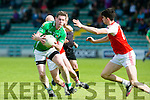 In Action Milltown's Mike Burke and Dingle's Mark O'Connor in the  Dingle V Milltown-Castlemaine in the Garveys Supervalu Senior CountyFootball Championship - round 3 at Austin Stacks park on Saturday