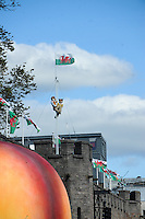 Pictured: Saturday 17 September 2016<br /> Re: Roald Dahl's City of the Unexpected has transformed Cardiff City Centre into a landmark celebration of Wales' foremost storyteller, Roald Dahl, in the year which celebrates his centenary.<br /> Mr Fox climbs the flagpole on Cardiff Castle.