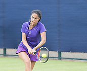 June 10th 2017,  Nottingham, England; WTA Aegon Nottingham Open Tennis Tournament day 1; Isabella Shinkova of Bulgaria plays a backhand in her match against Ashley Weinhold of USA