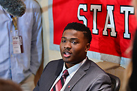 New York, NY - December 8, 2018:  Ohio State quarterback Dwayne Haskins speaks to the media during the Heisman Trophy Award announcement at the New York Marriott hotel December 8, 2018. Haskins led the nation in touchdown passes (47) and yards (4,580) and was second nationally in passing yards per game (352). (Photo by Don Baxter/Media Images International)