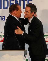 Silvio Berlusconi  a Napoli  Durante il  il suo tour a sostegno dei candidati presidenti alle prossime elezioni regionali<br /> nella foto con Stefano Caldoro