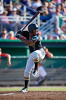 West Virginia Black Bears second baseman Melvin Jimenez (7) at bat during a game against the Batavia Muckdogs on July 3, 2018 at Dwyer Stadium in Batavia, New York.  Batavia defeated West Virginia 5-4.  (Mike Janes/Four Seam Images)