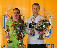 Rotterdam, The Netherlands, 07.03.2014. NOJK ,National Indoor Juniors Championships of 2014, 12and 16 years, Winner girls 16 years Isolde de Jong (NED) and winner boys 16 years Tom Moonen (NED) <br />