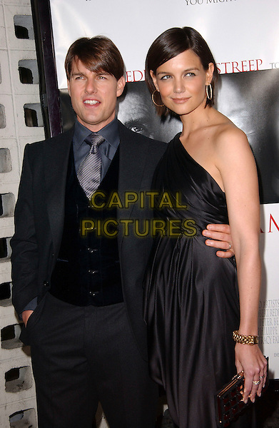 "TOM CRUISE & KATIE HOLMES.""Lions For Lambs"" 2007 AFI Festival Opening Night Gala held at the ArcLight Hollywood Cinemas, Hollywood, California, USA, 01 November, 2007..half length black one shoulder dress married husband wife couple .CAP/ADM/RE.©Russ Elliot/AdMedia/Capital Pictures."