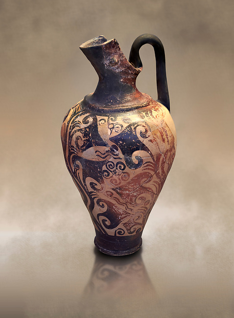 Mycenaean jug decorated with ivy leaves , Grave I, Grave Circle A, Mycenae 16-15 Cent BC. National Archaeological Museum Athens. Cat No 199
