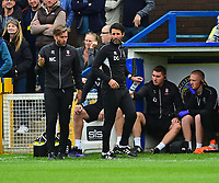 Lincoln City's assistant manager Nicky Cowley, left, and Lincoln City manager Danny Cowley in the technical area<br /> <br /> Photographer Andrew Vaughan/CameraSport<br /> <br /> The EFL Sky Bet League One - Macclesfield Town v Lincoln City - Saturday 15th September 2018 - Moss Rose - Macclesfield<br /> <br /> World Copyright &copy; 2018 CameraSport. All rights reserved. 43 Linden Ave. Countesthorpe. Leicester. England. LE8 5PG - Tel: +44 (0) 116 277 4147 - admin@camerasport.com - www.camerasport.com