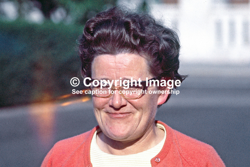Sheelagh Murnaghan, barrister, only Liberal MP ever elected to the original N Ireland Parliament at Stormont. Irish International Hockey Player. Born 1924, died 1993.<br /> <br /> Copyright Image from Victor Patterson, 54 Dorchester Park, Belfast, UK, BT9 6RJ<br /> <br /> t1: +44 28 9066 1296 (from Rep of Ireland 048 9066 1296)<br /> t2: +44 28 9002 2446 (from Rep of Ireland 048 9002 2446)<br /> m: +44 7802 353836<br /> <br /> e1: victorpatterson@me.com<br /> e2: victorpatterson@gmail.com<br /> <br /> The use of my copyright images is subject to my Terms &amp; Conditions.<br /> <br /> It is IMPORTANT that you familiarise yourself with them. They are available on my website at www.victorpatterson.com.<br /> <br /> None of my copyright images may be used on a website unless they are visibly watermarked, i.e. &copy; Victor Patterson within the body of the visible image. Metadata denoting my copyright must NOT be deleted. <br /> <br /> Web use is extra at currently recommended NUJ rates.