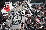 14.04.2018, BayArena, Leverkusen , GER, 1.FBL., Bayer 04 Leverkusen vs. Eintracht Frankfurt<br /> im Bild / picture shows: <br /> Choregrafie Frankfurt Fans, freundlich, Stimmung, farbenfroh, Nationalfarbe, geschminkt, Emotionen, <br /> <br /> <br /> Foto &copy; nordphoto / Meuter