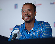Bethesda, MD - May 19, 2014: Pro golfer Tiger Woods holds a news conference to discuss the Quicken Loans National golf tournament. The proceeds of the tournament benefit the Tiger Woods Foundation.   (Photo by Don Baxter/Media Images International)