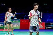 17th March 2018, Arena Birmingham, Birmingham, England; Yonex All England Open Badminton Championships; Yuta Watanabe (JPN) and Arisa Higashino (JPN) celebrate winning a point in their semi-final match against Zhang Nan (CHN) and Li Yinhui (CHN)