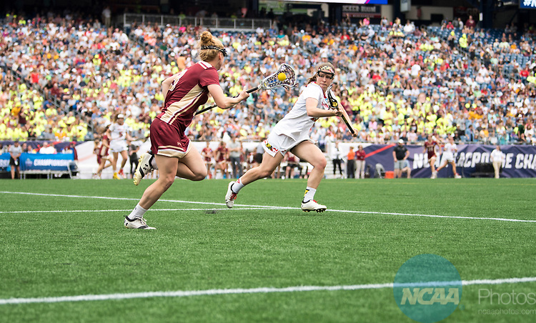 FOXBORO, MA - MAY 28:  Elizabeth Miller #3 of the Boston College with the ball during the Division I Women's Lacrosse Championship held at Gillette Stadium on May 28, 2017 in Foxboro, Massachusetts. <br /> (Photo by Ben Solomon/NCAA Photos via Getty Images)