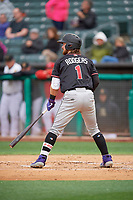 Brendan Rodgers (1) of the Albuquerque Isotopes bats against the Salt Lake Bees at Smith's Ballpark on April 24, 2019 in Salt Lake City, Utah. The Isotopes defeated the Bees 5-4. (Stephen Smith/Four Seam Images)
