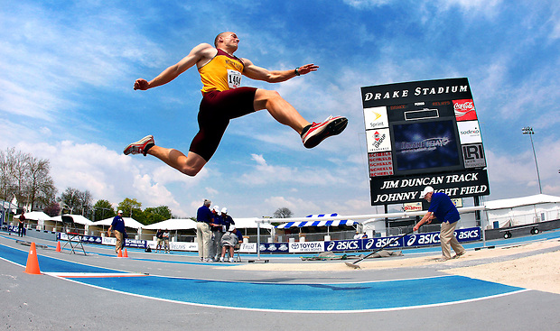 Minnesota's R.J. McGinnis takes flight in the long jump April 21, 2010 in the Drake Relays decathlon at Drake Stadium in Des Moines, Iowa.