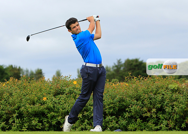 Orial Martinez Lozano (ESP) on the 18th tee during R1 of the 2016 Connacht U18 Boys Open, played at Galway Golf Club, Galway, Galway, Ireland. 05/07/2016. <br /> Picture: Thos Caffrey | Golffile<br /> <br /> All photos usage must carry mandatory copyright credit   (&copy; Golffile | Thos Caffrey)