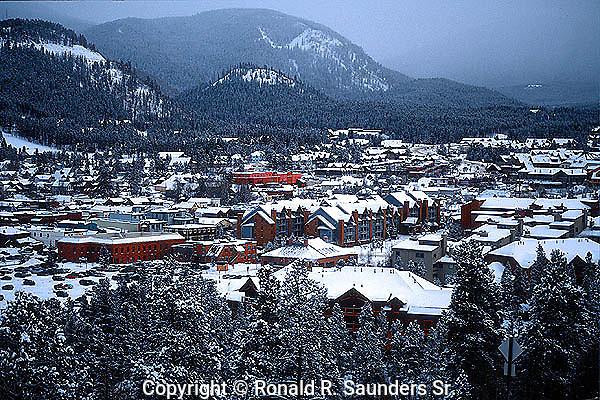 SNOW ON MOUNTAIN TOWN