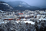SNOW ON MOUNTAIN TOWN