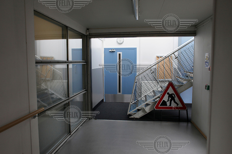 A roadworks warning traffic sign that has found its way into a corridor at the Brit School, in Croydon. The Brit is Britain's only non-fee paying performing arts and technology school.