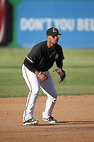 Josh Morgan (3) of the High Desert Mavericks at third base during a game against the Rancho Cucamonga Quakes at Heritage Field on August 7, 2016 in Adelanto, California. Rancho Cucamonga defeated High Desert, 10-9. (Larry Goren/Four Seam Images)