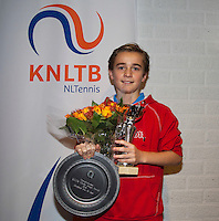 November 30, 2014, Almere, Tennis, Winter Youth Circuit, WJC,  Prizegiving,  Daniel Bénard 2nd place and overall winner<br /> Photo: Henk Koster