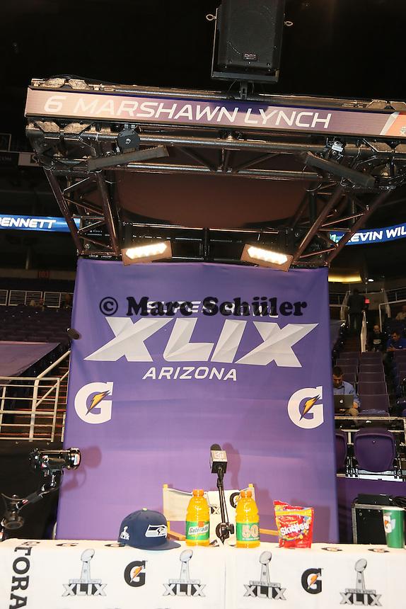 Platz des skandalumwitterten RB Marshawn Lynch (Seattle) blieb leer - Super Bowl XLIX Media Day, US Airways Center, Phoenix