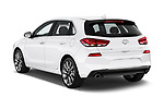 Car pictures of rear three quarter view of a 2018 Hyundai Elantra GT GT Sport MT 5 Door Hatchback angular rear